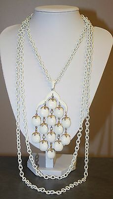 Vintage Signed Crown Trifari Signed White Multi Chain Waterfall Necklace