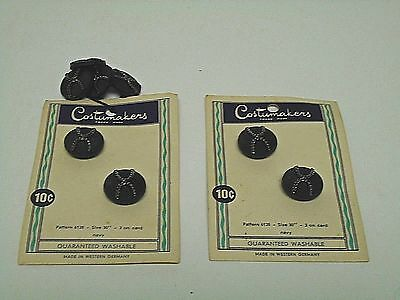"""Vintage Sewing Buttons 2 Cards+ Costumakers Navy 5/8"""" Shank NEW OLD STOCK"""