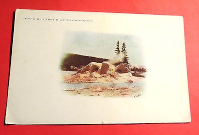 Yellowstone N.P WY Grotto Geyser Formation Div Back Vintage Postcard PC2938