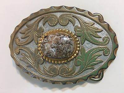 Vintage Gold Tone Agate Oval Rodeo Style Belt Buckle Country Western