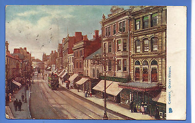 Old Vintage 1904 Tuck Postcard Queen Street Cardiff Glamorgan