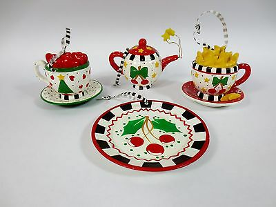Set Of 4 Mary Engelbreit Christmas Ornaments -Cherries Teapot Cup Rare Lot