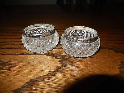 Antique Pair Of Silver and Glass Open Salts, Edwardian 1907-08