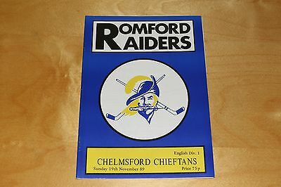 Romford Raiders vs Chelmsford Chieftans - Ice Hockey Programme - 19th Nov 1989