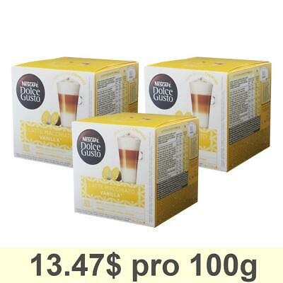 Dolce Gusto Latte Macchiato Vanilla, Pack of 3, 3 x 16 Capsules (24 Servings)