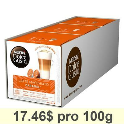 Dolce Gusto Caramel Latte Macchiato, Pack of 3, 3 x 16 Capsules 24 Servings