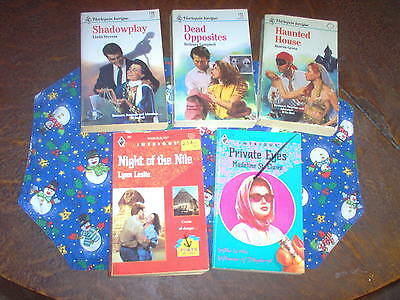 Lot of 5 Harlequin Intrigue, pbs,1990, Shadowplay by Linda Stevens and 4 more