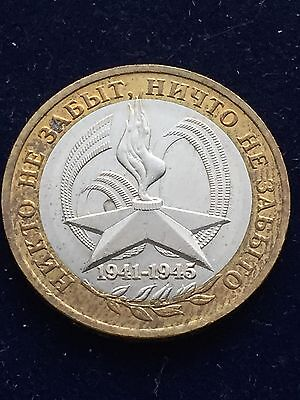 Russia 10 Rubles 2005 Wwii Victory Km#827 Very Rare Bi-Metallic World Coin