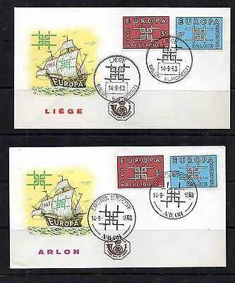 Belgium 1963 2 Unaddressed Europa First Day Covers Liege & Arlon Special Cancel