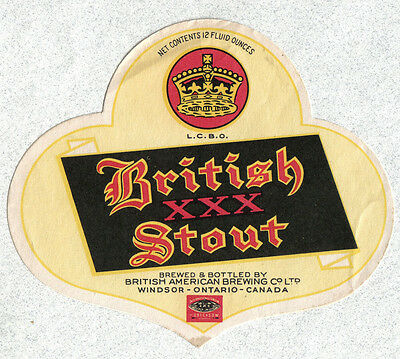 Beer label - Canada - British XXX Stout - British American Brg. Co. - Windsor
