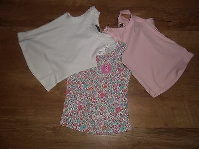 Next Set Of 3 baby Girl's Ditsy vest tops age 9-12 Months bnwt summer xxx2