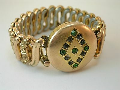 vintage gold filled extendable sweetheart bracelet with paste stones