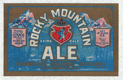 Beer label - Canada - Rocky Mountain Ale - Cranbrook Brg. Co. - British Columbia