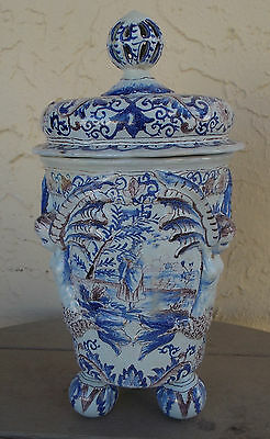 Great Antique Delft Covered Urn With Embossed Winged Mermaids And Ball Feet