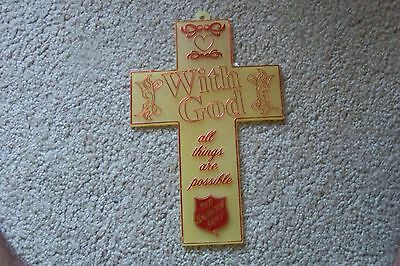 Vintage Plastic The Salvation Army With God All Things Are Possible Cross!!