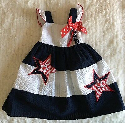 Baby Girls Summer Dress by Sophie Rose Size 18M Blue Red White Patriotic