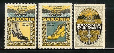 """Reklamemarke/Poster Stamp ~ """"Saxonia"""" Shoes & Ships / Germany ~ D 295  G"""
