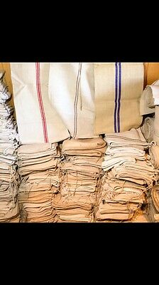 100 Pieces Strong Vintage Grain Sack HempHessian Material DIY Project Upholstery