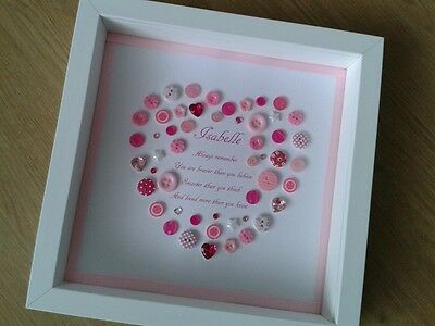 Personalised Button Picture Frame New Baby Christening Baptism Nursery Gift