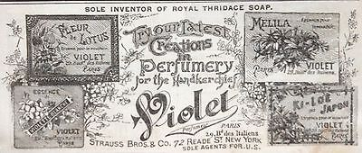 Antique 1889 Ad (1800-14)~Violet Perfume For The Handkerchief. Strauss Bros. Ny.