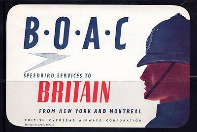 "BOAC~ ""Speedbird Services"" ~ Baggage Label ~ M/NH/OG ~ G PAA 758"