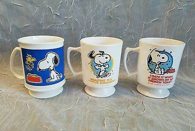 "3 Vintage Snoopy Plastic Cups With Handles 4"" Tall.  X"