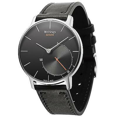 Withings Activité Sapphire Activity & Sleep Tracker Black Leather Watch - Black