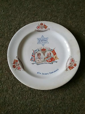1902 Edward V11 th Coronation plate - Frisby Boots commemorative. 115 years old