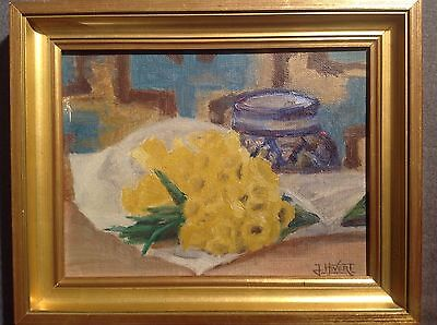 Tableau ancien signé Huile Cruche et Ananas French Still life Oil Painting frame