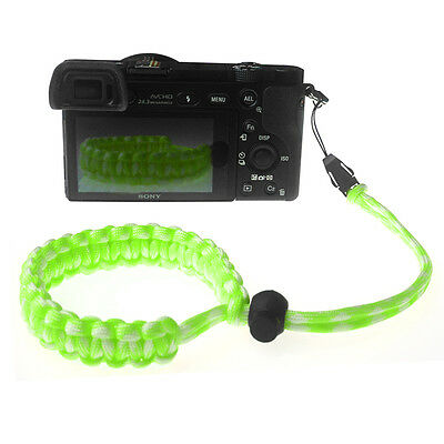 Green/White Quick Release Braided 550 Paracord Adjustable Camera Wrist Strap