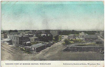 1908 Wheatland, Wyoming - Town View, Hand Colored Vintage Postcard, Bank