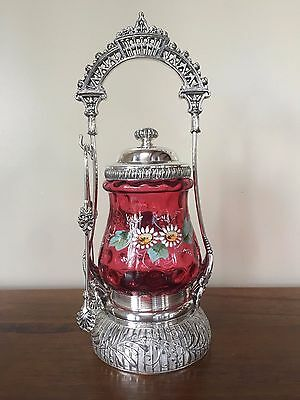 VICTORIAN Silver Plate CRANBERRY THUMBPRINT Enameled Glass PICKLE CASTOR & Tongs
