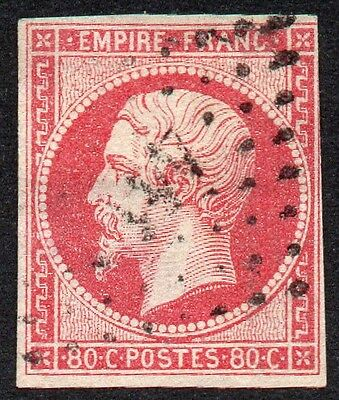 FRANCE 1860 80c pale rose 4- margin imperf PC cancel very fine used SG 71