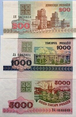 BELARUS 1992-1998 200 1000 5000 Rublei GREAT SET OF UNCIRCULATED BANKNOTES