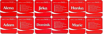 6 vintage coca cola mats coasters: Share a Coke with name ALENA JIRKA HANKA ADAM