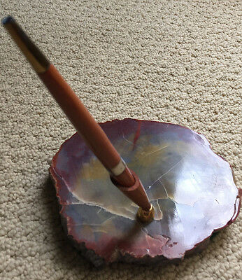 Petrified Wood Pen Holder with Wood Pen Beautiful! Colorful!