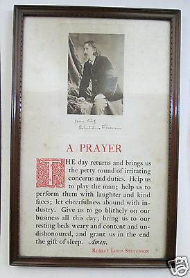 WRITER Robert Louis Stevenson AUTOGRAPH - SIGNED PHOTOGRAPH FRAMED AND MOUNTED
