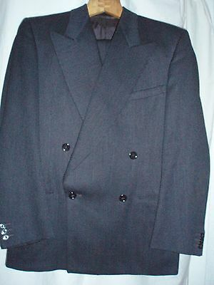 Vintage Mens 1940's Blue Double Breasted Wool Two Piece Tailored Suit