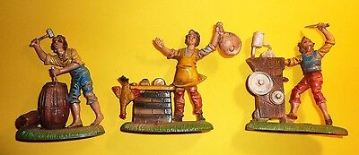 "lot of (3) VINTAGE ITALIAN HAND PAINTED DEPOSE RUBBER 4"" PLASTIC FIGURES"