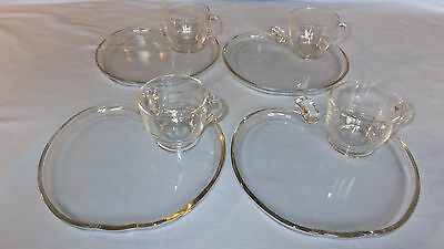 Vintage Snack Trays 4 Sets Apple Design Clear Glass Tray & Cup Very Cute
