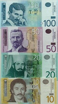 Serbia Set 10 20 50 100 Dinaras 2006/2013 Great Colourful Uncirculated Banknotes