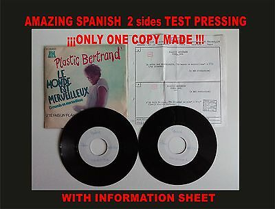 Plastic Bertrand le monde... Amazing Spanish Test Pressing. Only 1 copy made!