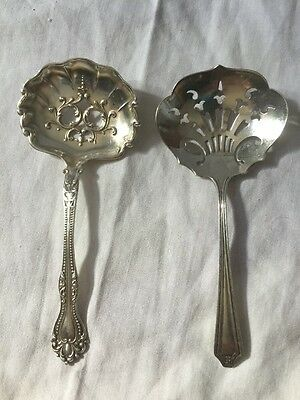 Pr of Antique Vtg Small Sterling Silver Slotted Serving Spoons Bon Bon Nut Berry