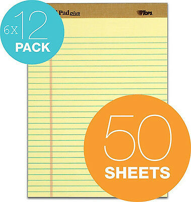 TOPS Legal Pads Plus Perforated Wide Rule Canary Yellow 6 packs of 12 Set of 72