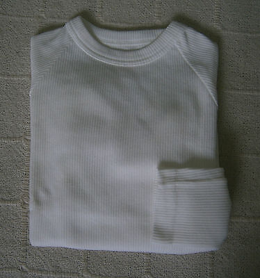 Vintage Stretch Long-sleeved Top - Age 10 - White - Cotton/Nylon - New