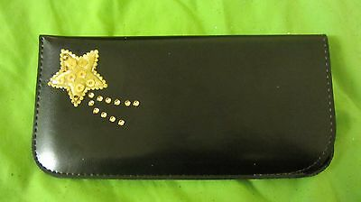 Glasses spectacle soft case, pouch, leather style, hand decorated, shooting star