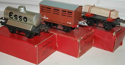 Hornby O Gauge Three Post War Wagons With Thier Original Boxes