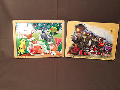 2 Melissa and Doug Puzzles Train Sound Puzzle and Pets