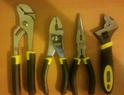 Stanley plier set × 4 wrench long nose multi grips brand new