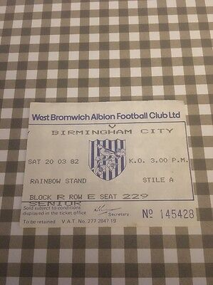 Ticket : West Bromwich Albion V West Ham United -81/82